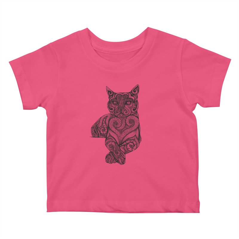 Zentangle Cat Kids Baby T-Shirt by cmatthesart's Artist Shop