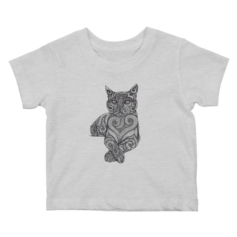 Zentangle Cat Kids Baby T-Shirt by cmatthesart's Artist Shop