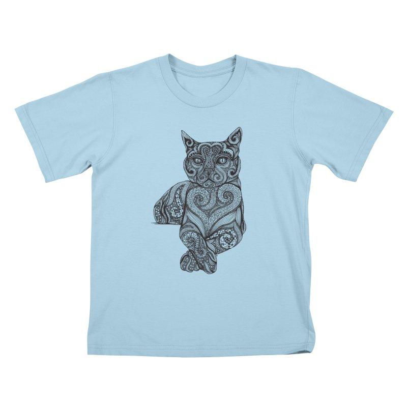 Zentangle Cat Kids T-Shirt by cmatthesart's Artist Shop