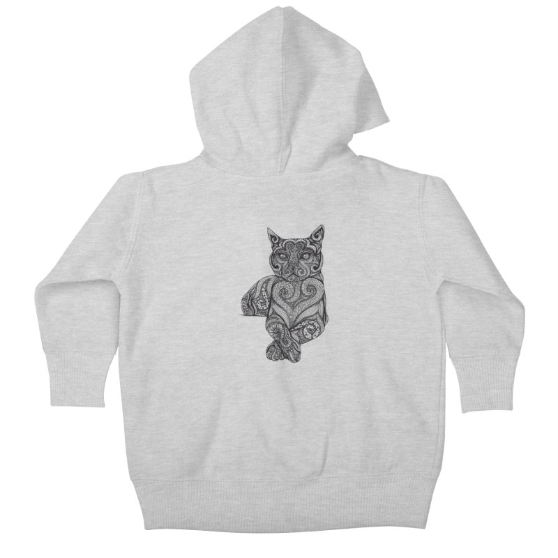 Zentangle Cat Kids Baby Zip-Up Hoody by cmatthesart's Artist Shop
