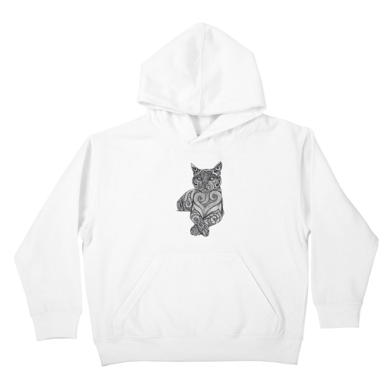 Zentangle Cat Kids Pullover Hoody by cmatthesart's Artist Shop