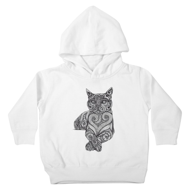 Zentangle Cat Kids Toddler Pullover Hoody by cmatthesart's Artist Shop