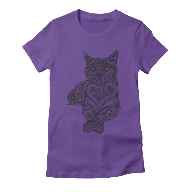 Zentangle Cat Women's Fitted T-Shirt by cmatthesart's Artist Shop