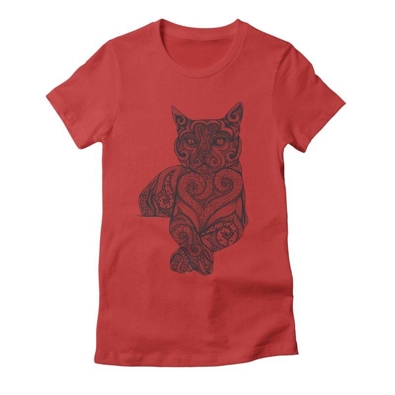 Zentangle Cat Women's Fitted T-Shirt by cmatthesart's Artist Shop