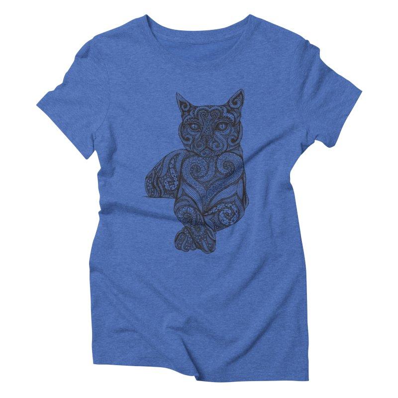 Zentangle Cat Women's Triblend T-Shirt by cmatthesart's Artist Shop