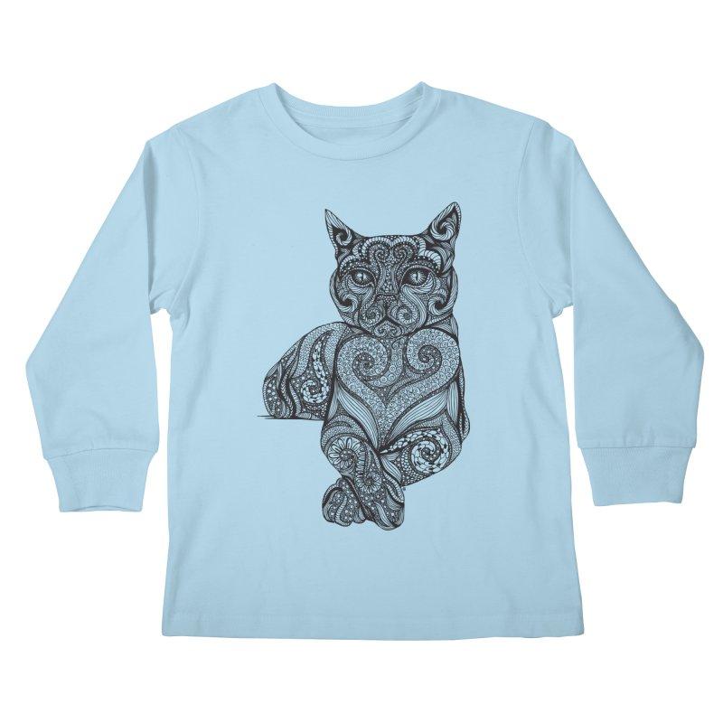 Zentangle Cat Kids Longsleeve T-Shirt by cmatthesart's Artist Shop