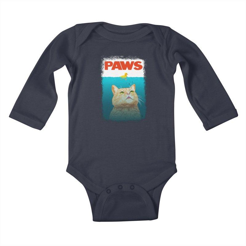 Paws! Kids Baby Longsleeve Bodysuit by cmatthesart's Artist Shop