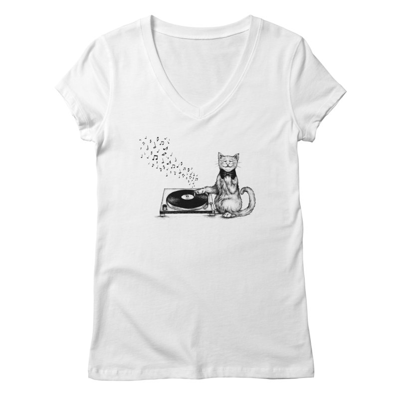 Music Master Women's V-Neck by cmatthesart's Artist Shop