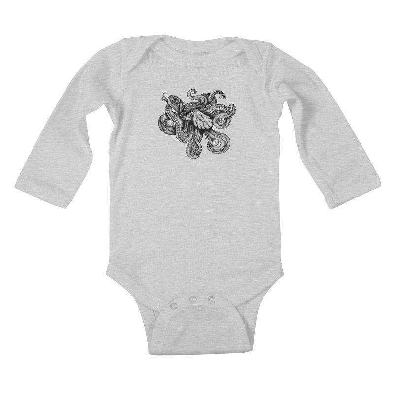Octopus Kids Baby Longsleeve Bodysuit by cmatthesart's Artist Shop