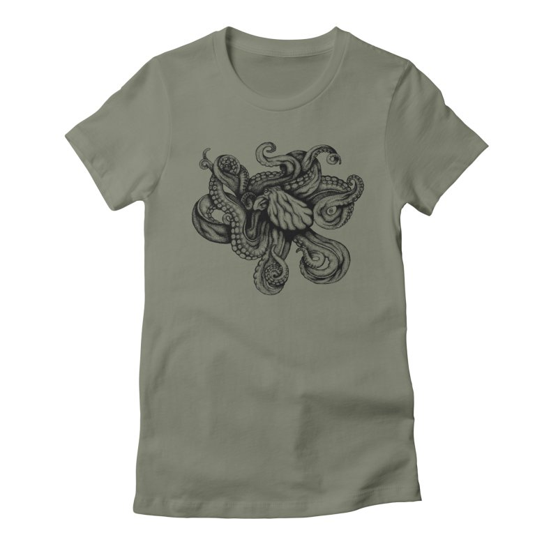 Octopus Women's Fitted T-Shirt by cmatthesart's Artist Shop