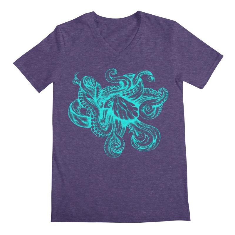 Octopus (Neon) Men's V-Neck by cmatthesart's Artist Shop