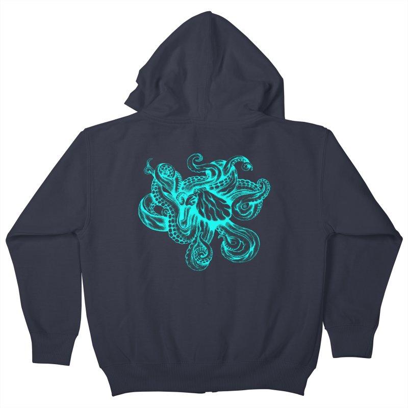 Octopus (Neon) Kids Zip-Up Hoody by cmatthesart's Artist Shop