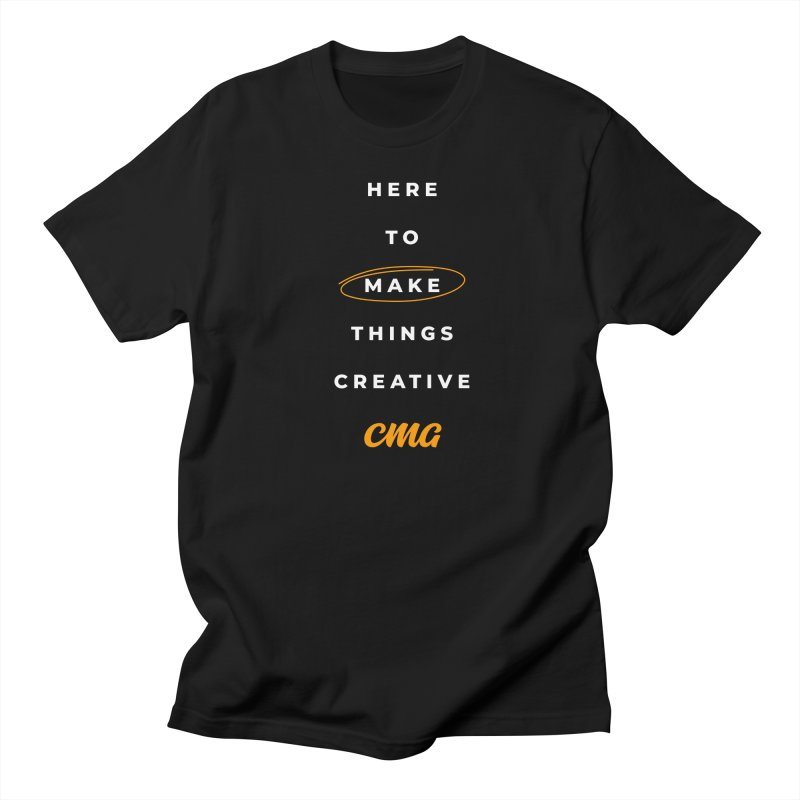 Here To Make Things Creative - White Text in Men's Regular T-Shirt Black by Church Motion Graphics