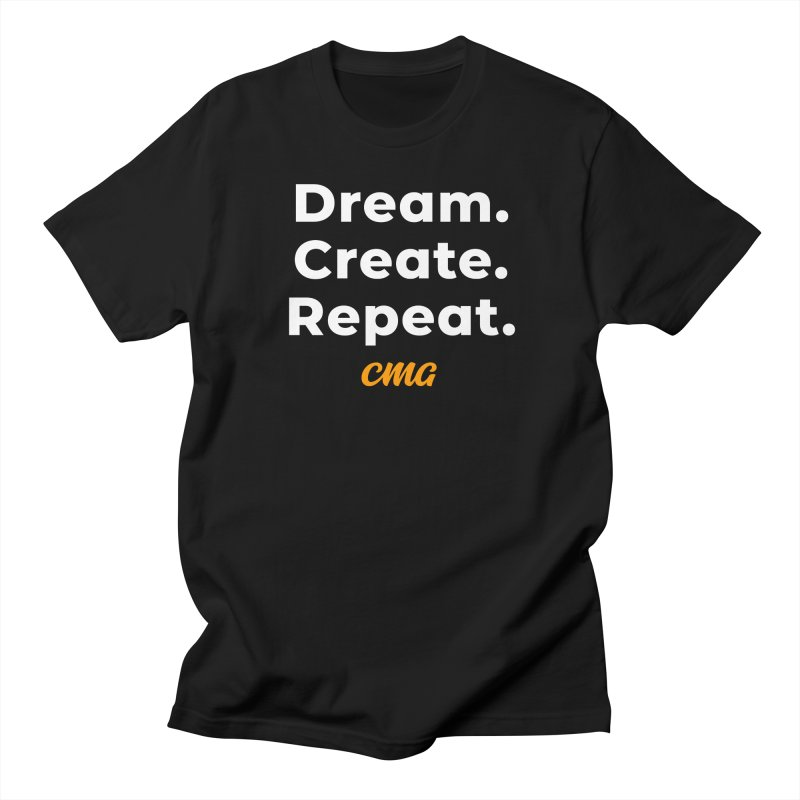 Dream Create Repeat - White Text in Men's Regular T-Shirt Black by Church Motion Graphics