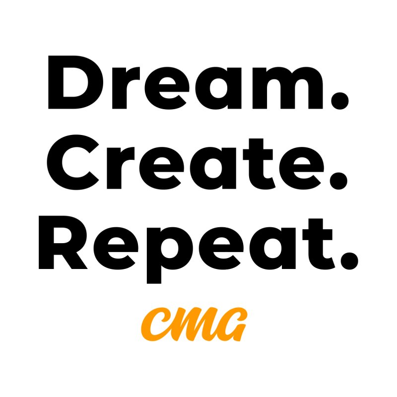 Dream Create Repeat - Black Text Accessories Water Bottle by Church Motion Graphics