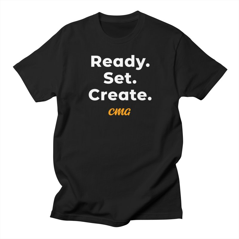 Ready Set Create - White Text in Men's Regular T-Shirt Black by Church Motion Graphics