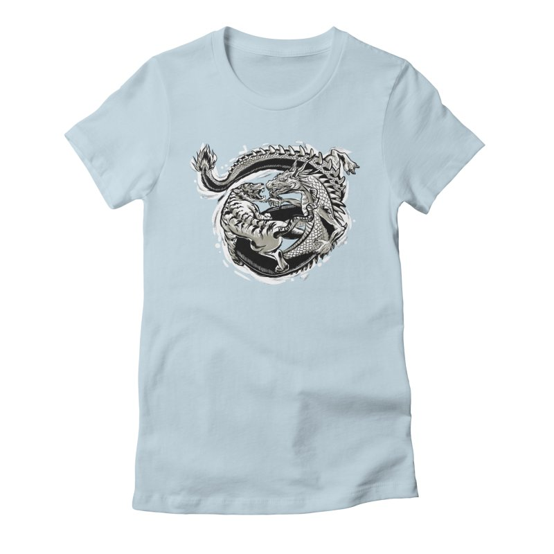 Tigers vs Dragon Women's Fitted T-Shirt by cmn artist shop