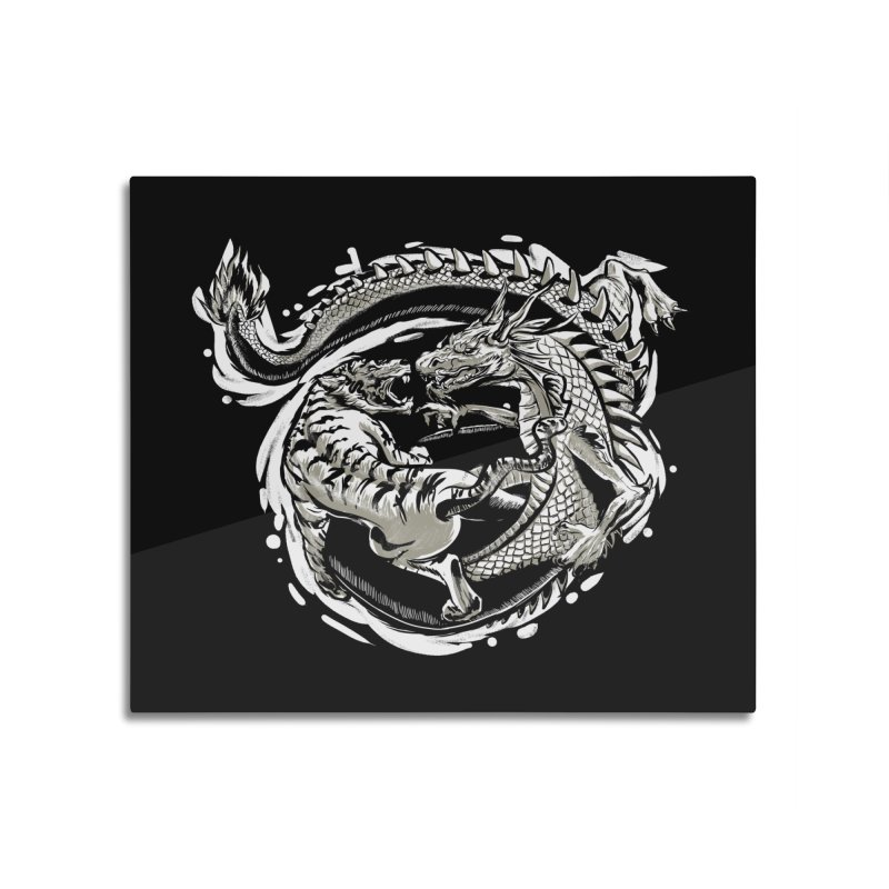 Tigers vs Dragon Home Mounted Aluminum Print by cmn artist shop