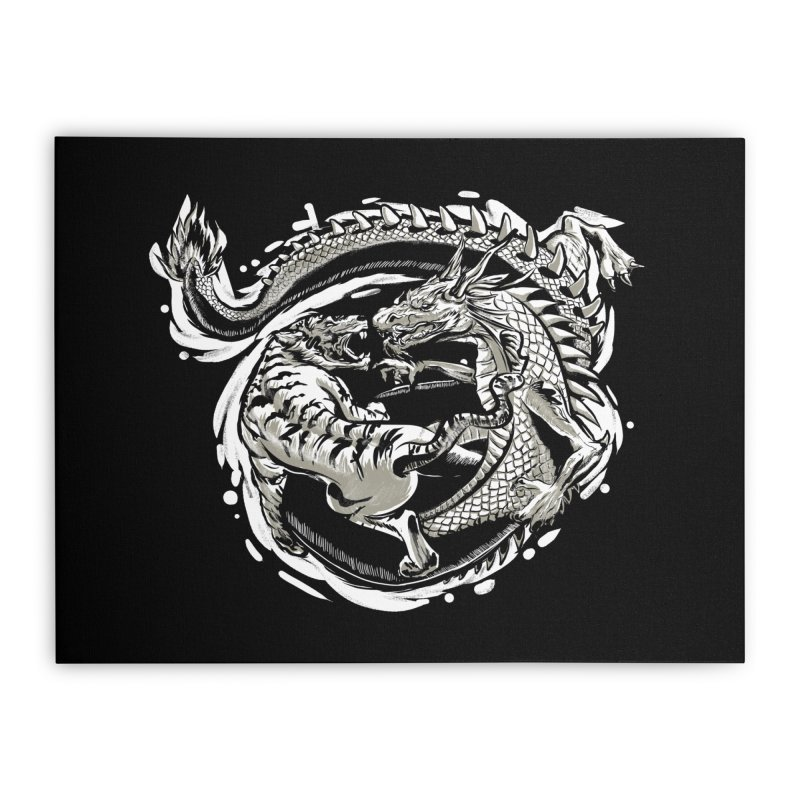 Tigers vs Dragon Home Stretched Canvas by cmn artist shop