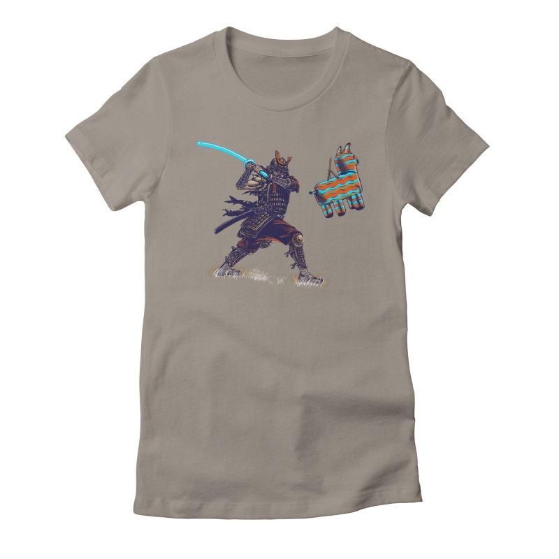Samurai party Women's Fitted T-Shirt by cmn artist shop