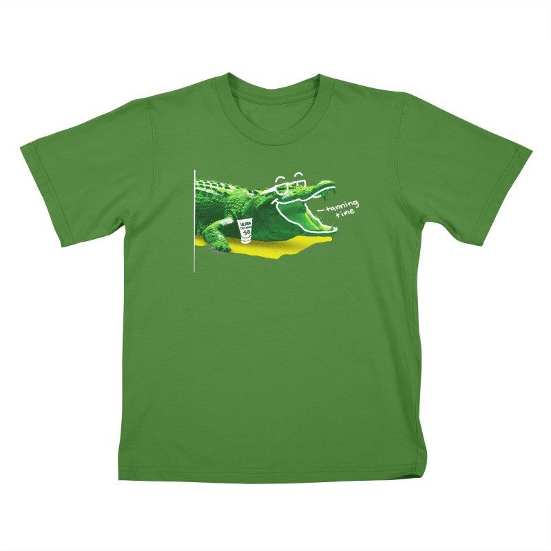 Tanning time Kids T-Shirt by cmn artist shop