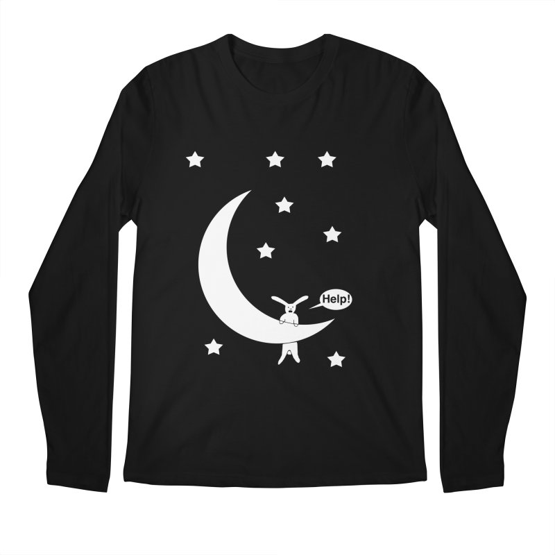 Rabbit Hanging From Moon Men's Regular Longsleeve T-Shirt by cmschulz's Artist Shop