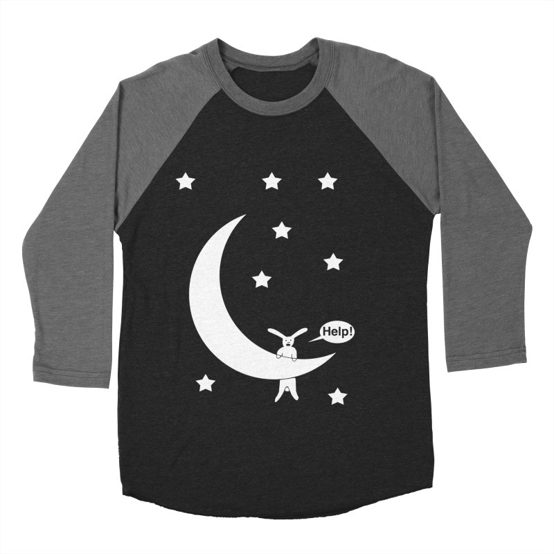 Rabbit Hanging From Moon Men's Baseball Triblend Longsleeve T-Shirt by cmschulz's Artist Shop