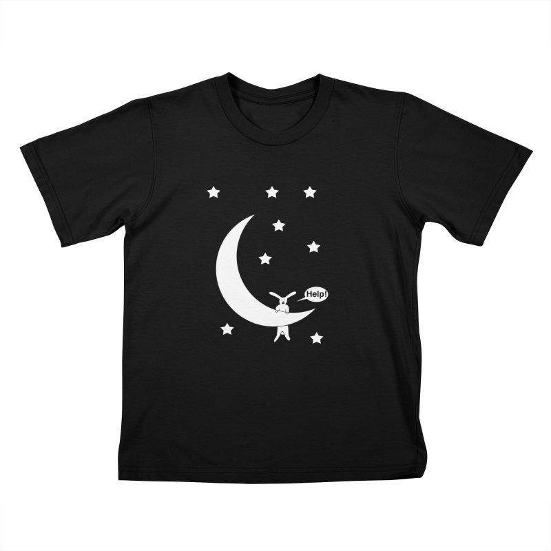 Rabbit Hanging From Moon Kids T-Shirt by cmschulz's Artist Shop