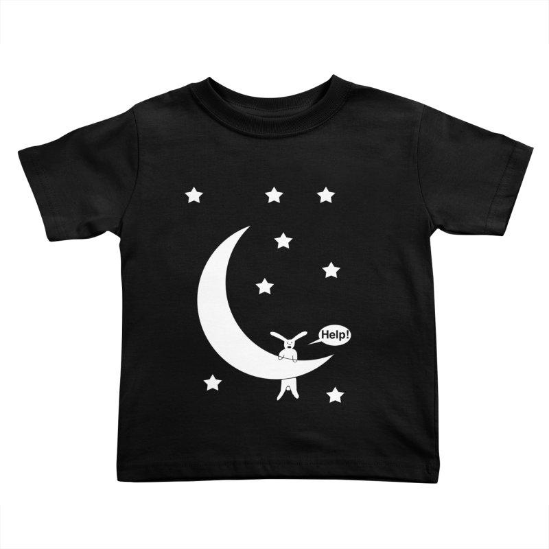Rabbit Hanging From Moon Kids Toddler T-Shirt by cmschulz's Artist Shop