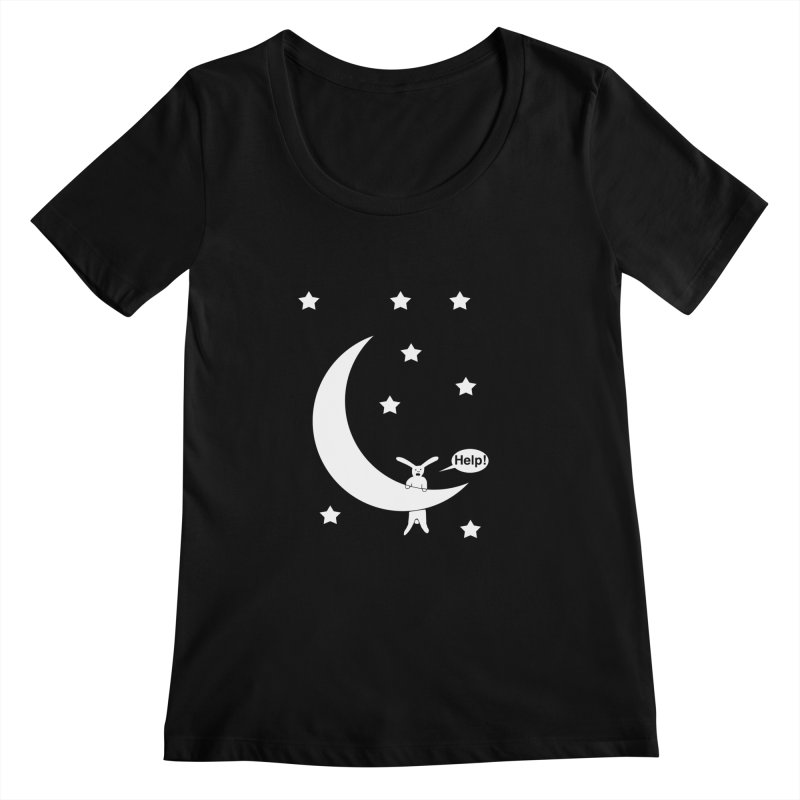 Rabbit Hanging From Moon Women's Scoopneck by cmschulz's Artist Shop