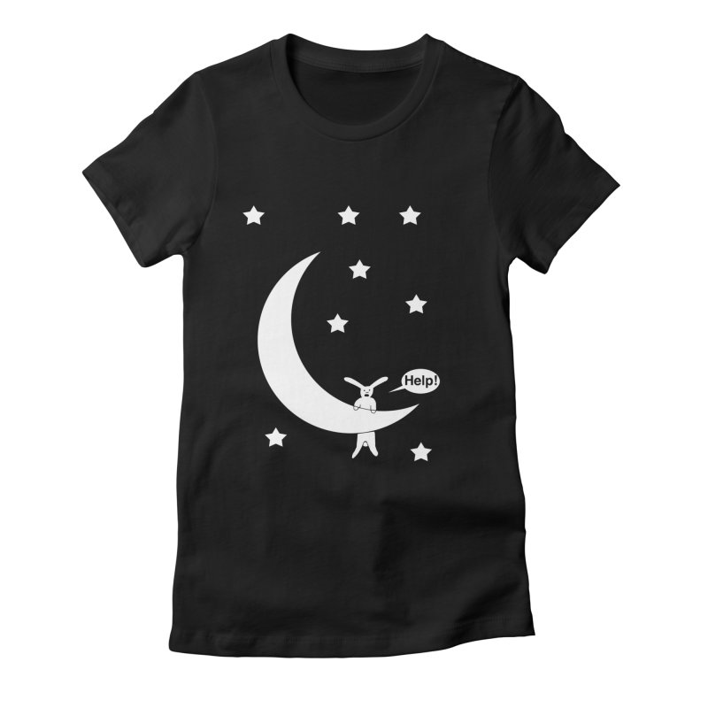 Rabbit Hanging From Moon Women's Fitted T-Shirt by cmschulz's Artist Shop
