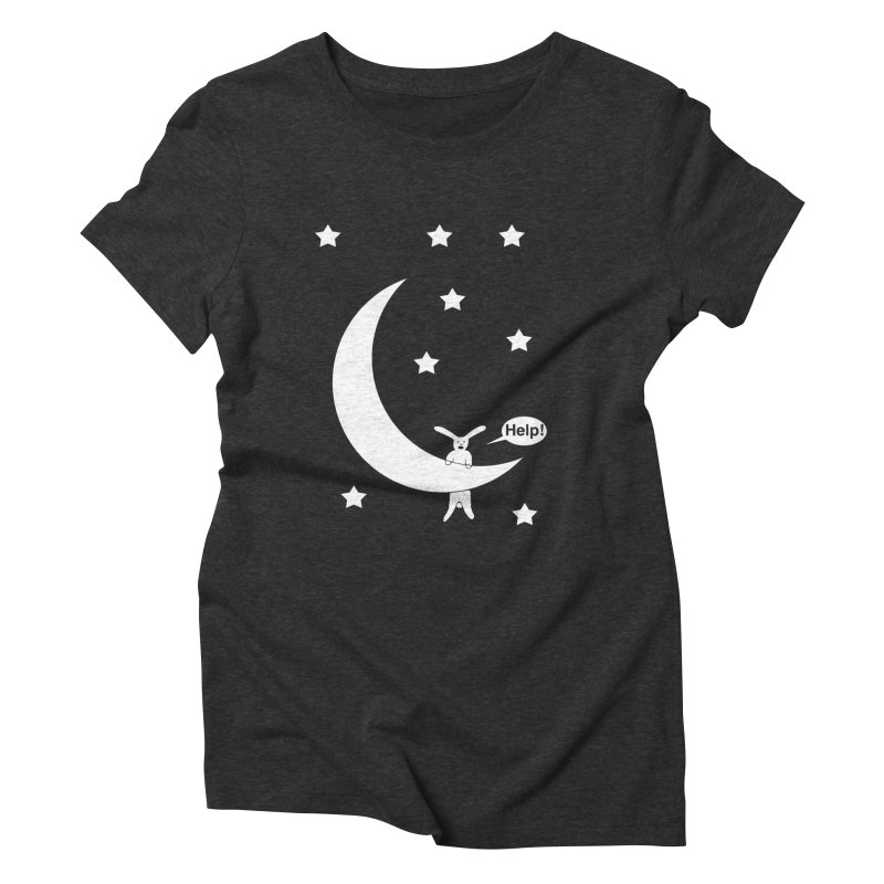 Rabbit Hanging From Moon Women's Triblend T-shirt by cmschulz's Artist Shop
