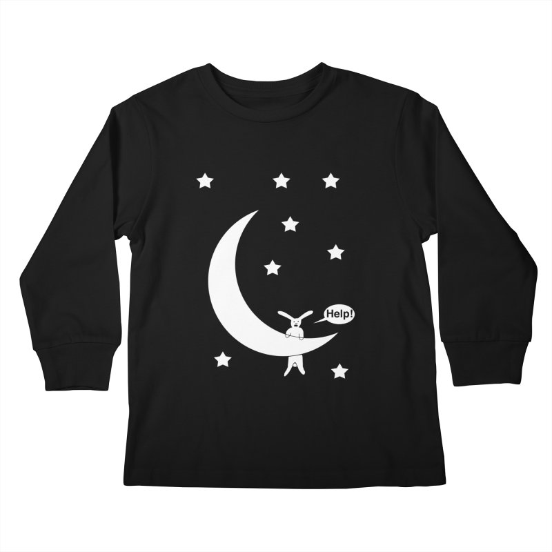 Rabbit Hanging From Moon Kids Longsleeve T-Shirt by cmschulz's Artist Shop