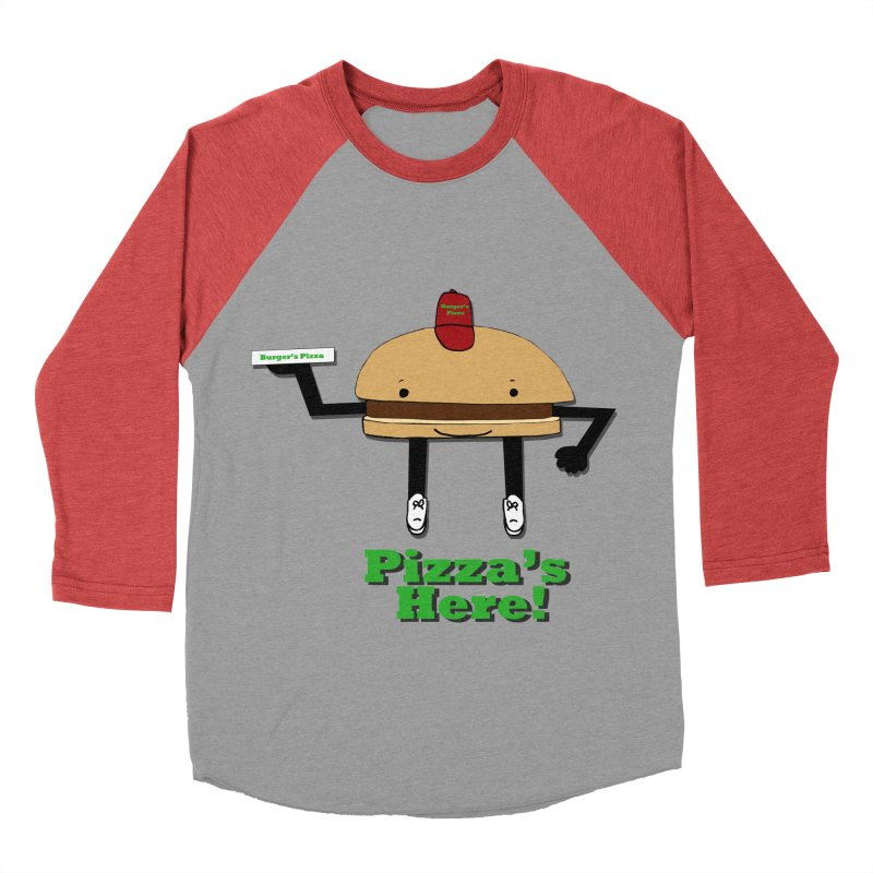 Burger Pizza Women's Baseball Triblend T-Shirt by cmschulz's Artist Shop