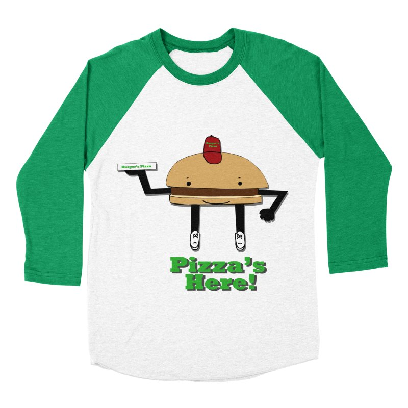Burger Pizza Men's Baseball Triblend Longsleeve T-Shirt by cmschulz's Artist Shop