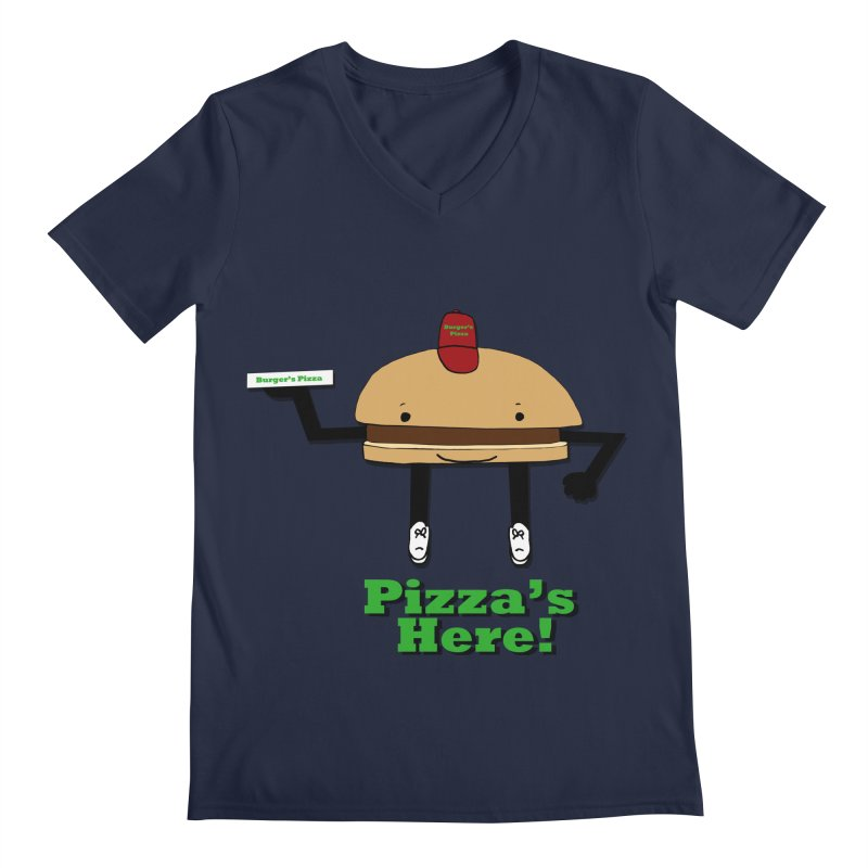 Burger Pizza Men's Regular V-Neck by cmschulz's Artist Shop