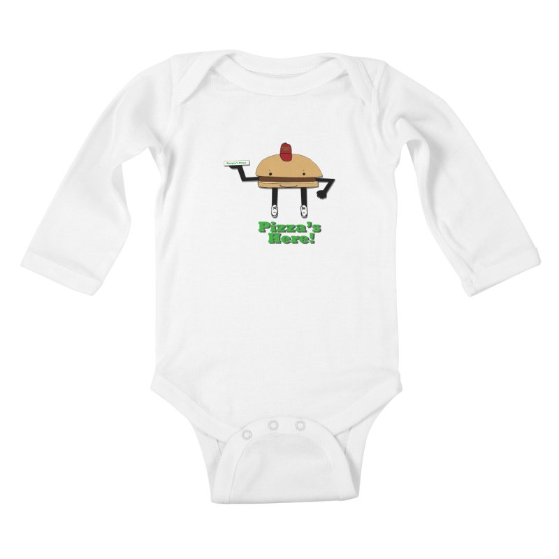 Burger Pizza Kids Baby Longsleeve Bodysuit by cmschulz's Artist Shop