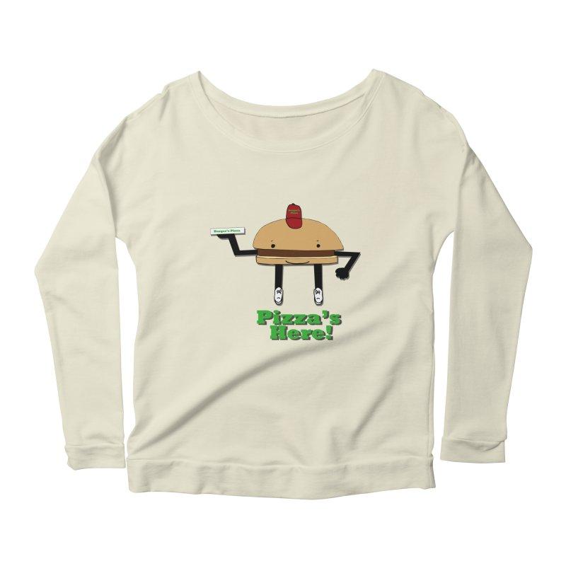 Burger Pizza Women's Scoop Neck Longsleeve T-Shirt by cmschulz's Artist Shop