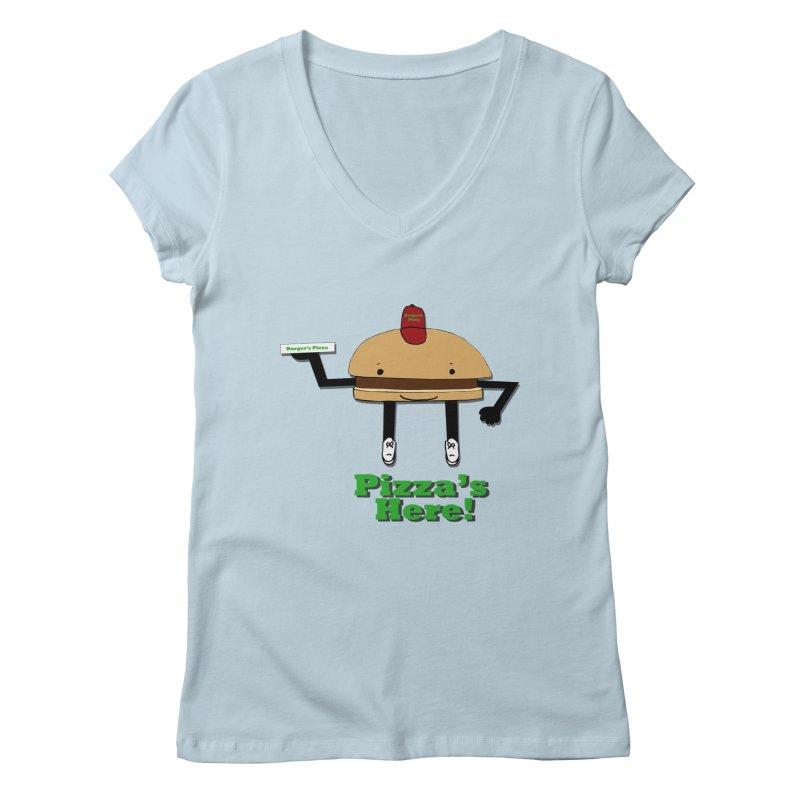 Burger Pizza Women's V-Neck by cmschulz's Artist Shop