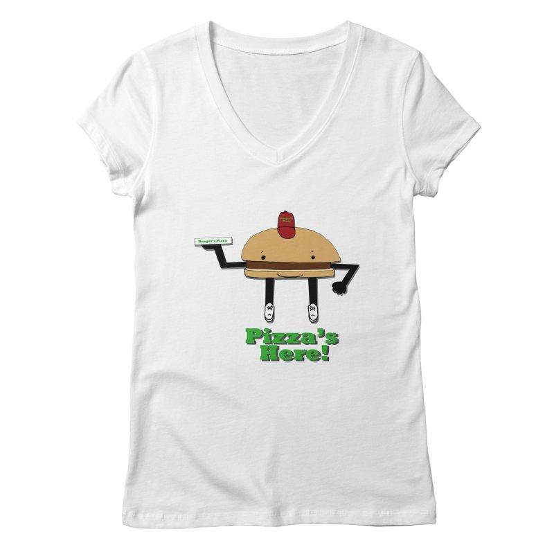 Burger Pizza Women's Regular V-Neck by cmschulz's Artist Shop