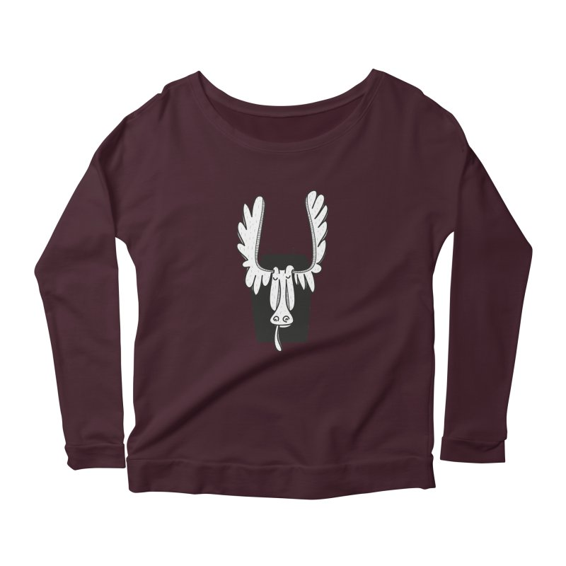Moose Women's Longsleeve Scoopneck  by coclodesign's Artist Shop