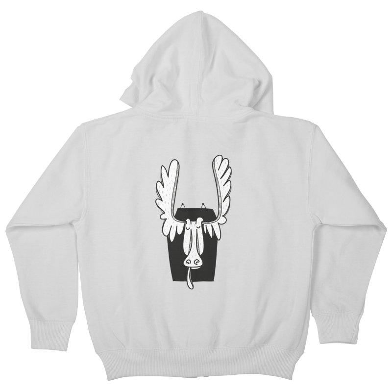 Moose Kids Zip-Up Hoody by coclodesign's Artist Shop
