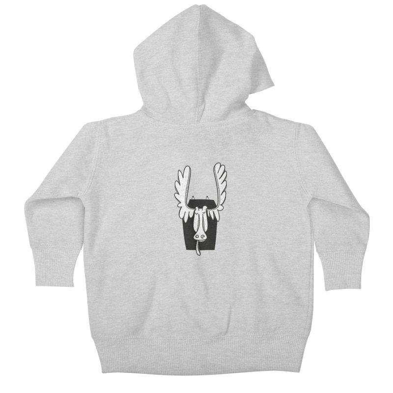 Moose Kids Baby Zip-Up Hoody by coclodesign's Artist Shop