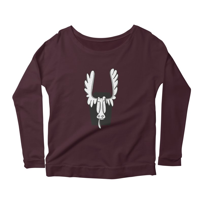 Moose Women's Scoop Neck Longsleeve T-Shirt by coclodesign's Artist Shop