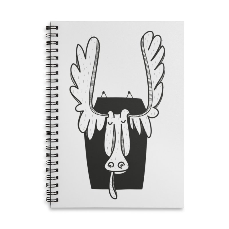 Moose Accessories Lined Spiral Notebook by coclodesign's Artist Shop