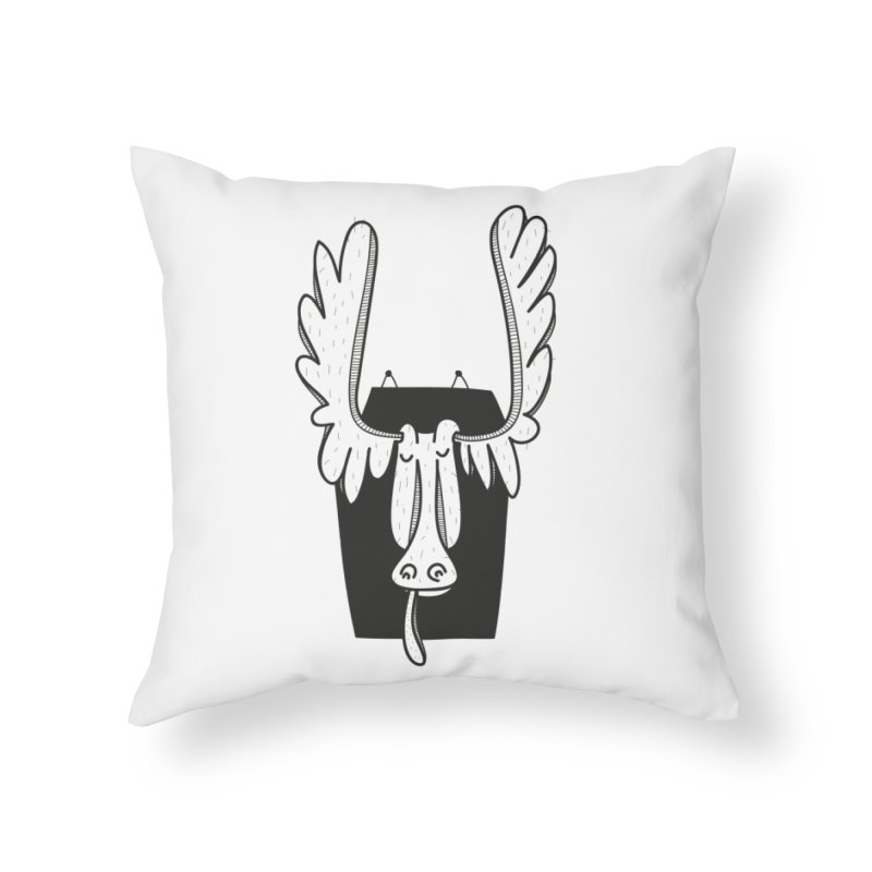 Moose Home Throw Pillow by coclodesign's Artist Shop