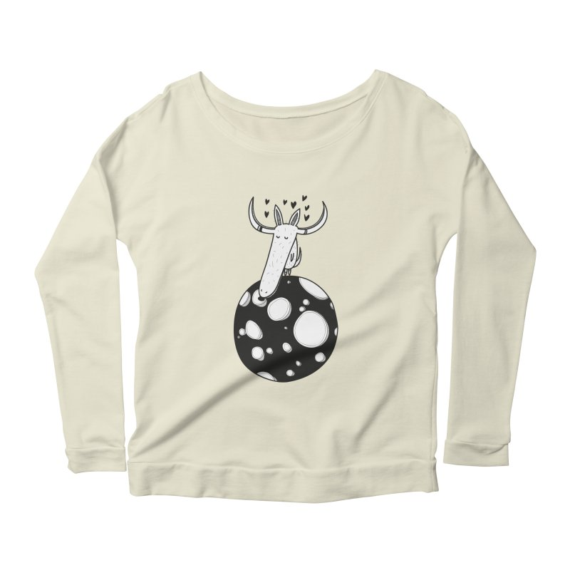 Moon Women's Longsleeve Scoopneck  by coclodesign's Artist Shop
