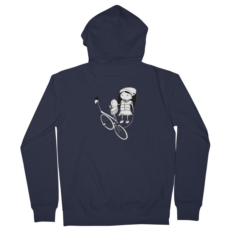Zeginella rides a bike Men's French Terry Zip-Up Hoody by coclodesign's Artist Shop