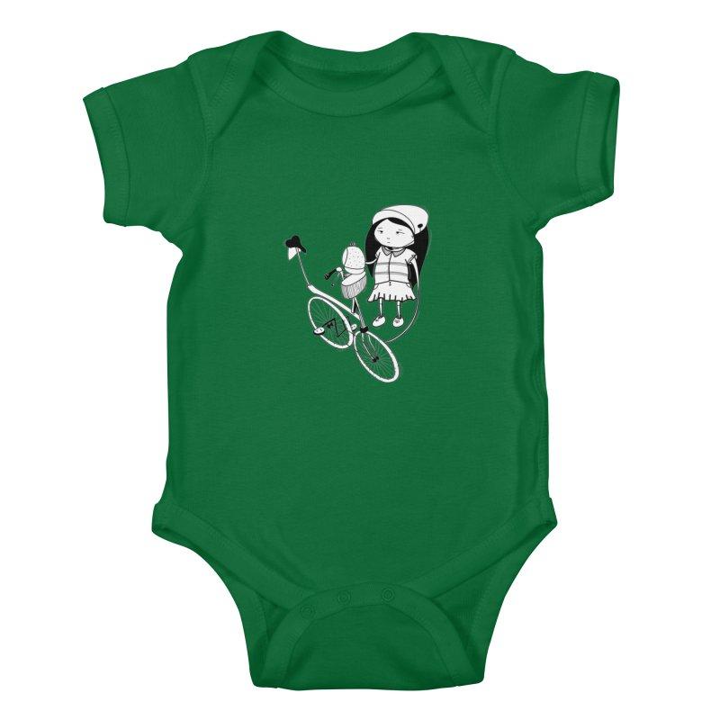 Zeginella rides a bike Kids Baby Bodysuit by coclodesign's Artist Shop