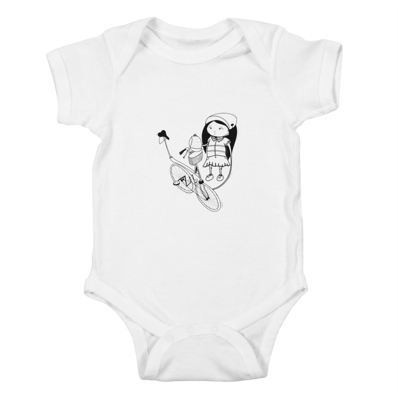Zeginella rides a bike Kids Baby Bodysuit by coclodesign's Artist Shop